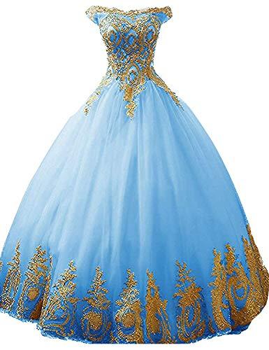 Stillluxury Tul quinceañera vestido de bola de oro apliques dulce 16 baile princesa vestidos largos mujeres quc14