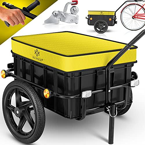 KESSER® Fahrradanhänger, Lastenanhänger, Handwagen mit Kupplung, Hochdeichsel, für Fahrrad Transportanhänger Transportbox mit 70 Liter Volumen, Max. 60kg für Fahrräder mit 26\'\' - 28\'\', Gelb