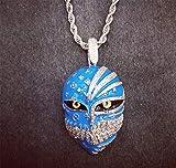 Cadena Máscara de la Muerte hacia fuera helado collares pendientes de Hip-Hop clavícula tendencia de la calle Hombres Mujeres con 3 mm de acero inoxidable cuerda joyería de la cadena Cadena,Azul