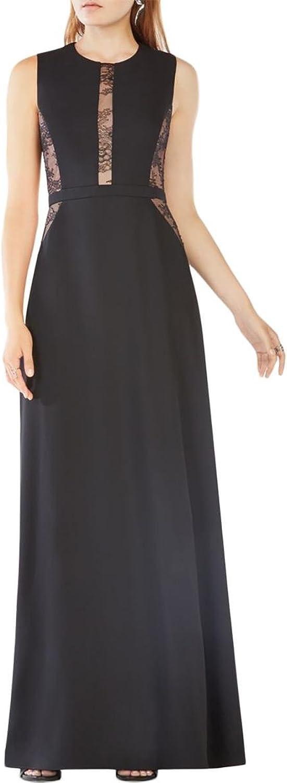BCBG Max Azria Womens Ashlee Lace Panels Sleeveless Evening Dress