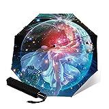 MISS KANG Paraguas AUTOMÁTICO AUTOMÁTICO AUTOMÁTICO EVILLO AUTOMÁTICO 3-PLOTE Zodiaco Impresión 3D Acuario (Star) Sombrilla clásica al Aire Libre (Color: Púrpura) Qingchunw (Color : Pink)