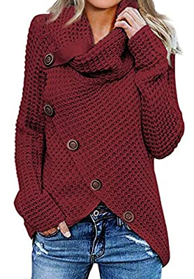 Asvivid Womens Solid High Neck Cowl Neck Button Knit Pullover Sweater Loose Cotton Juniors Wrap Jumpers Tops L Red