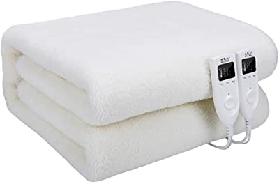 SQUZEA 電気毛布高速加熱ブランケット電気毛布アドバンスト過熱保護システムデュアルコントロールで内蔵5つのヒートセッティング - オールナイト使用の場合に、 (Color : White, Size : 180*160cm)