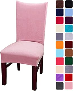smiry Velvet Stretch Dining Room Chair Covers Soft Removable Dining Chair Slipcovers Set of 6, Pink
