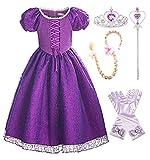ReliBeauty Robe Princesse Fille Déguisement Princesse Dessin Animé Costume pour Anniversaire Fête Manches Ballons avec Accessoires, 110 (5-6ans)