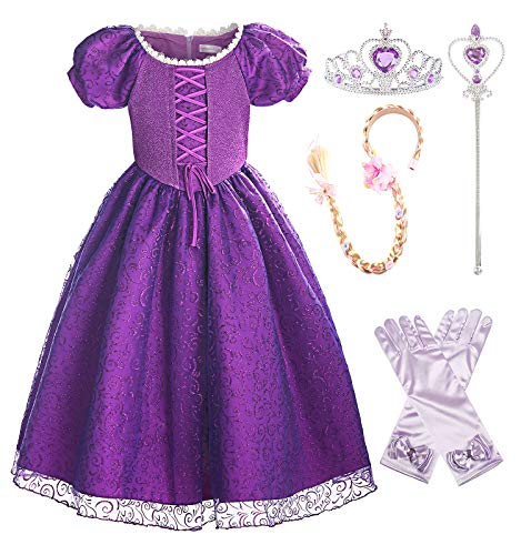 ReliBeauty Girls Princess Lace up Dress Costume with Accessories, 7/130