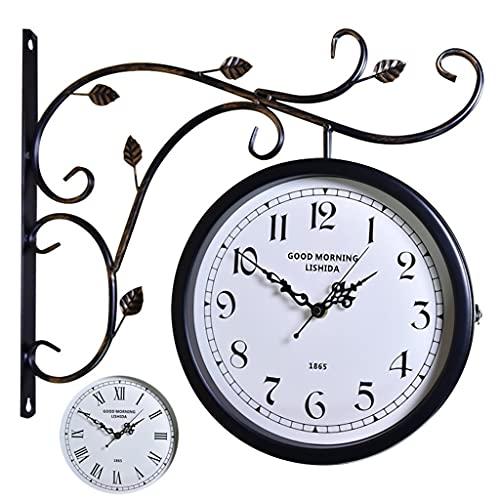 Relojes de pared 360 giratoria Hierro Forjado Retro Retro Barra de Reloj de Doble Cara Nostalgic Silent Reloj Courtyard Wall (Color : Black b, Size : 16 Inches)