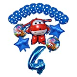 JSJJAEA Globos del Partido 16pcs 3D Super Wings Globo Figura de Dibujos Animados Fiesta de cumpleaños 32 Pulgadas Número Decoraciones Niños Juguete Globos Niños Juguetes decoración (Color : Blue-9)
