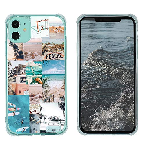 Case for iPhone 11, Vintage Vibe Collage Aesthetic Retro Sun Summer Island Peache Slim Case TPU Bumper Shockproof Protective Cover Case for Women Girls Support Wireless Charging