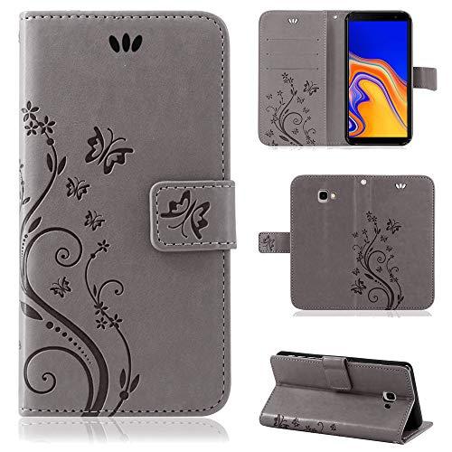 betterfon | Flower Hülle Handytasche Schutzhülle Blumen Klapptasche Handyhülle Handy Schale für Samsung Galaxy J4 Plus 2018 Grau