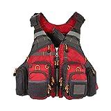 釣りベストバックパックライフジャケット多機能フィッシングベストルアーリール釣りギアベストハイキングアウトドアバッグ,赤