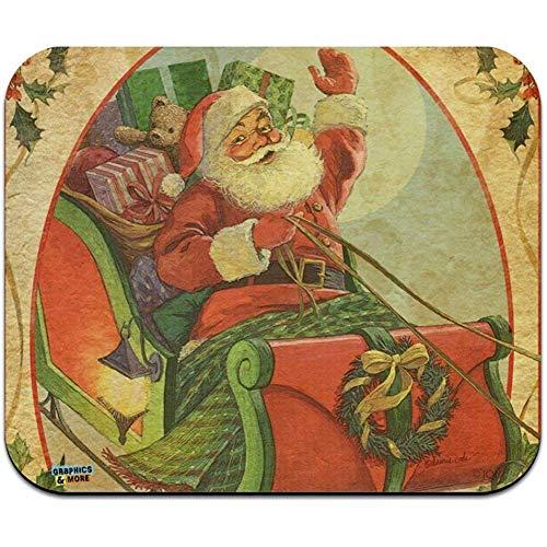 utong Weihnachtsfeiertag Retro Antiker Santa Schlitten Low Profile Dünne Mauspad Mousepad
