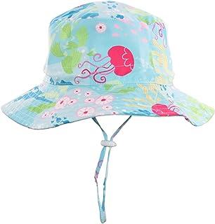 """Baby Sun Hat Boy -Toddler Summer UPF 50+ Protection Wide Strap Bucket Adjustable Kids Beach Swim Hat 18.8""""(48cm)(6-12M)"""