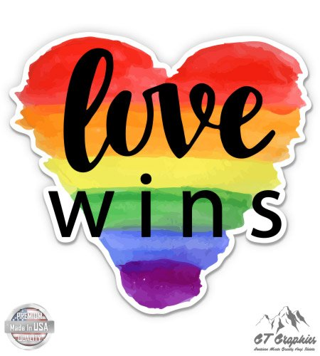Love Wins Rainbow Heart - 3' Vinyl Sticker - For Car Laptop I-Pad Phone Helmet Hard Hat - Waterproof Decal