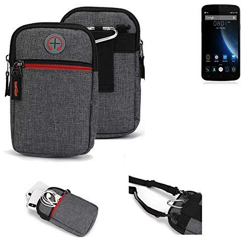 K-S-Trade® Gürtel-Tasche Für Doogee X6S Handy-Tasche Schutz-hülle Grau Zusatzfächer 1x