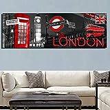 Lienzo moderno con vista a la ciudad de Londres, carteles de Big Ben e impresión, imagen artística de pared de estilo Vintage para la decoración del hogar de la sala de estar 40x120 CM (sin marco)