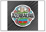 Aserbaidschan, Maiden Tower in Baku mit aserbaidschanische Flagge, klassischer Kühlschrankmagnet