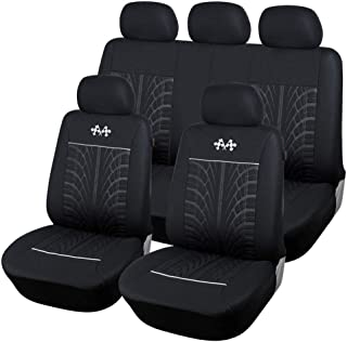 Universal Full Set Auto Seat Covers Embossed Cloth Fabric Car Seat Accessories(Airbag Compatible Anti-Slip Black/Gray)