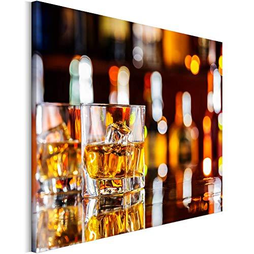 Revolio 120x80 cm Leinwandbild Wandbilder Wohnzimmer Modern Kunstdruck Design Wanddekoration Deko Bild auf Leinwand Bilder 1 Teilig - EIN Glas Eisbar braun weiß
