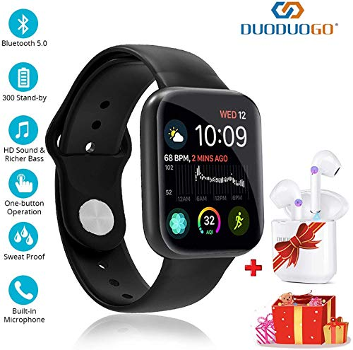 DUODUOGO Smart Watch and Bluetooth Headphones for Android/iOS 2 in 1,Ip68 Waterproof with1.3 Inch HD Full Screen Smart Bluetooth Bracelet,Bluetooth 5.0,Wireless Touch Screen Earphones (Black)