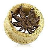 "5/8"" (16mm) vaso foglia legno di bambù biologico carne Tunnel Ear Saddle Plug"