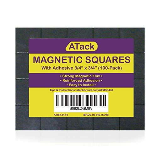 ATack Magnetic Squares with Adhesive Backing 3/4-Inch x 3/4-Inch (Set of 100) Double-Sided Sticky Magnets- Adhesive Magnets for Magnetic Business Cards, Bookmark, Fridge Magnets and DIY Projects