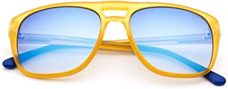 Saraghina Eyewear SCRAMBLER | Occhiali da Sole UNISEX 100% Made in Italy | COLORE GIALLO | LENTE FLASH BLU |