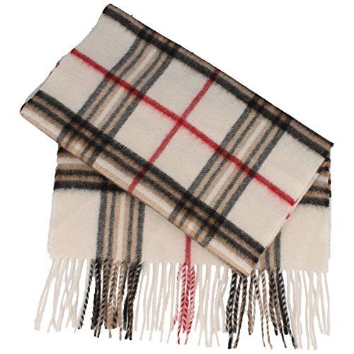 Schal aus 100% Cashmere für Damen & Herren - 180 x 30 cm – mit großem Karo-Muster & Fransen – super weich & bequem – Natur