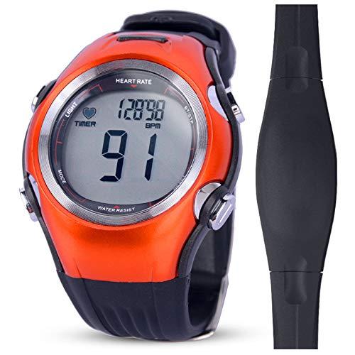 QIANMA Herzfrequenzmesser Uhr BrustgurtWasserdichte Herzfrequenzmesser Uhren Kalorienzähler Sport Armbanduhren Männer Frauen Fitnessuhren Brustgurt Pulsometer