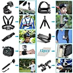 Neewer 50-In-1 Action Camera Accessory Kit, Compatible with GoPro Hero9/Hero8/Hero7, GoPro Max, GoPro Fusion, Insta360… 11 Ultimate Compatibility: Compatible with most action cameras, including GoPro Hero9 Black, Hero8 Black, GoPro Max, GoPro Fusion, and its earlier models. Also suitable for DJI Osmo Action, Insta360, AKASO, APEMAN, Campark, SJCAM, etc Straps for Head, Chest & Helmet: Designed for all head sizes and body shapes, the straps secure the camera on your head and chest for taking breathtaking POV shots of surfing, skateboarding, parachuting, and bungy jumping. The helmet strap tightly fastens your camera on a helmet for road biking races, mountain bike trails, and BMX Wrist Strap & Floating Handle Grip: The wrist strap with a 360° rotatable mount is easily adaptable to fit your wrist and arm for taking shots from different angles. The floating handle grip keeps your camera afloat in the water when swimming or snorkeling