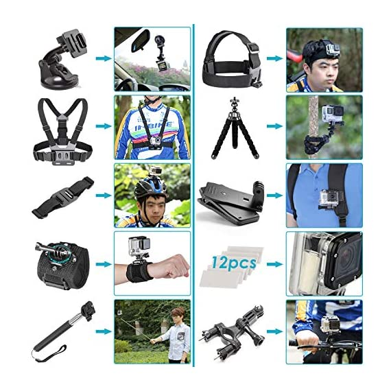 Neewer 50-In-1 Action Camera Accessory Kit, Compatible with GoPro Hero9/Hero8/Hero7, GoPro Max, GoPro Fusion, Insta360… 4 Ultimate Compatibility: Compatible with most action cameras, including GoPro Hero9 Black, Hero8 Black, GoPro Max, GoPro Fusion, and its earlier models. Also suitable for DJI Osmo Action, Insta360, AKASO, APEMAN, Campark, SJCAM, etc Straps for Head, Chest & Helmet: Designed for all head sizes and body shapes, the straps secure the camera on your head and chest for taking breathtaking POV shots of surfing, skateboarding, parachuting, and bungy jumping. The helmet strap tightly fastens your camera on a helmet for road biking races, mountain bike trails, and BMX Wrist Strap & Floating Handle Grip: The wrist strap with a 360° rotatable mount is easily adaptable to fit your wrist and arm for taking shots from different angles. The floating handle grip keeps your camera afloat in the water when swimming or snorkeling