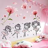 sxh28185171 Flor Linda Etiqueta de la Pared de Dibujos Animados Chica Ballet Tatuajes de Pared Sala de Estar decoración del Dormitorio del niño90cmX60cm