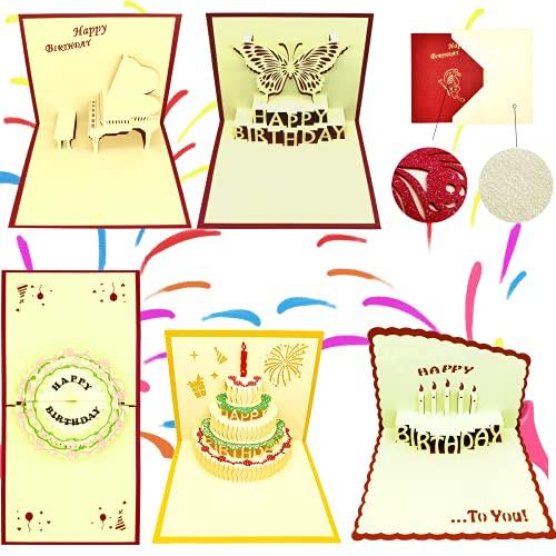 Juego de 5 tarjetas de feliz cumpleaños 3D Pop Up para esposo, esposa, mamá, papá, hijo, hija, colega, tarjeta de felicitación doblada con sobre para cumpleaños, Navidad