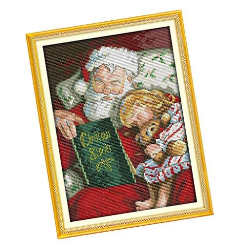 P Prettyia Kit Fai da Te a Punto Croce di Babbo Natale con Filettature a Perno Fai-da-Te