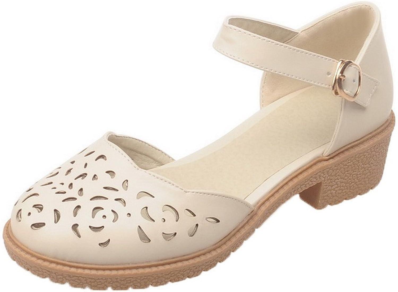 WeiPoot Women's Pu Open-Toe Low-Heels Buckle Solid Sandals