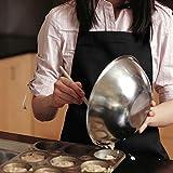 InnoGear 2 Stücke verstellbare Schürze mit 2 Taschen, Kochenschürze Küchenschürze für Küche, Restaurant, café (Schwarz 100% Baumwolle) - 6