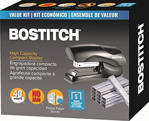 Bostitch Stapler with Staples Value Pack Set, Heavy Duty Stand Up Stapler, Black, 40 Sheet Capacity with 5000 Staples, Small Stapler Size, Fits Into The Palm of Your Hand (B175-BLK -VP)