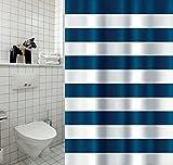 Cotexsa by MSV 142108 Premium - Cortina de Ducha Textil antimoho, antibacteriana con 12 Anillas para Cortina de Ducha, poliéster, Marinera Azul, Blanco, 180 x 200 cm, Fabricada en España