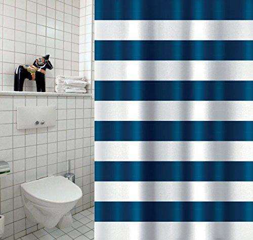 """MSV Cotexsa by Premium Anti-Schimmel Textil Duschvorhang - Anti-Bakteriell, waschbar, 100prozent wasserdicht, mit 12 Duschvorhangringen - Polyester, """"Marinera"""" weiß blau 180x200cm – Made in Spain"""