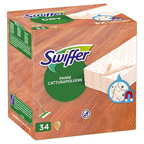 Swiffer Dry Panni Cattura Polvere, 34 Panni, Cattura e Intrappola Polvere e Sporco, Ottimo per I peli di Animale, per Parquet