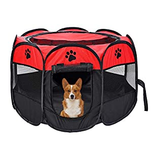 Mile High Life | Portable Cat Dog Crate | Foldable Dog Case Tent | Collapsible Travel Crate | Water Resistant Shade Cover | for Dogs/Cats/Rabbit (Red+Black, Middle-Dia36 H23)
