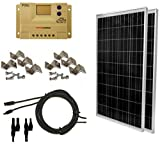WindyNation 200 Watt (2pcs 100 Watt) Solar Panel Complete Off-Grid RV Boat Kit with LCD PWM Charge Controller + Solar Cable + Mounting Brackets