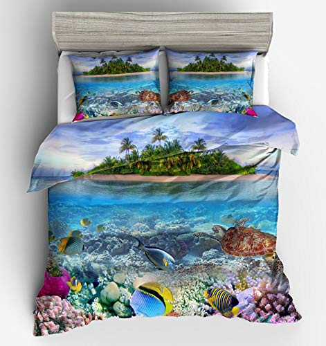 MGORJGR Ocean Turtle Bed Quilt Cover Clothes Pillowcase 3D Conch Adult Boy's Bedding Duvet Cover Set Twin Full Queen King Size