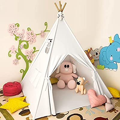 Teepee Tent for Kids Lesicpic Kids Play Tent with Mat & Egg Light String & Rabbit Doll Kids Tent Indoor Outdoor Raw White Teepee - Kids Playhouse - Portable Kids Tent for Kids Canvas Tent by wei hai yi bao
