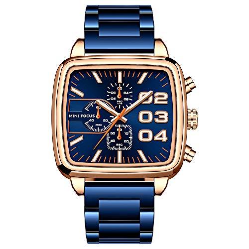Flytise Reloj clásico de Cuarzo para Hombre Reloj de Pulsera cronógrafo analógico de Negocios con Esfera Luminosa Reloj de Vestir Impermeable 3ATM