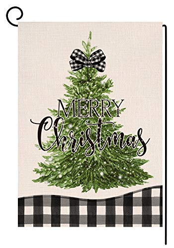 Christmas Tree Garden Flag 12x18 Vertical Double Sided Black White Buffalo Check Plaids Farmhouse Burlap Yard Outdoor Decorations (161528)
