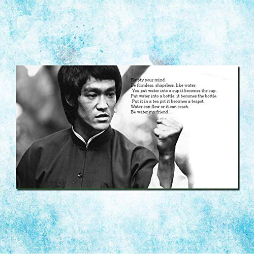 SHANGHAIXIAOTONG Bruce Lee Chinesischen Kongfu Hot Movie Art Silk Leinwand Poster Zoll Schwarz Weiß Bild Für Room Wall Decor, klicken, 16x30 Zoll Seidentuch