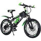 Mikia Bicicleta para niños Velocidad Variable Bicicleta de montaña 20/22 Pulgadas Bicicleta por 6-14 años Niños Chicas Absorción de Impacto Freno de Disco Doble,Verde,22inch