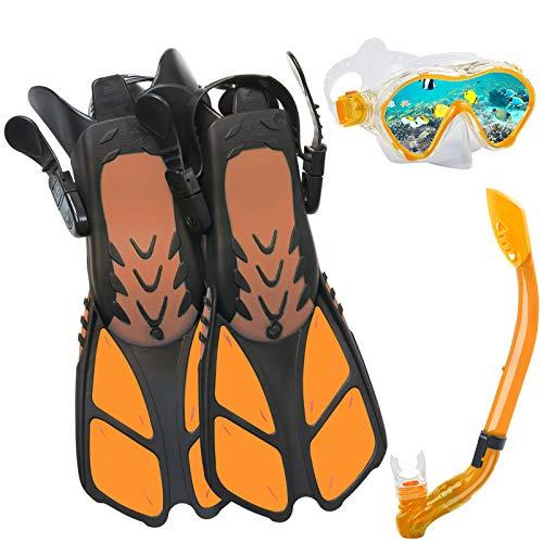 Ertong Children Snorkel Set Kids Scuba Diving Equipment Packages Including Adjustable Swimming Fins/Flippers + Automatic Breathing Tube + Tempered Glass Lens Snorkeling Mask (Orange)