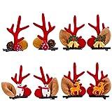 8Pcs Christmas Hair Clips Reindeer Antlers Hair Clips Baby Hair Clips Hair Accessories Set for...